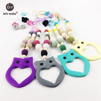 Let's make Nursing Necklace (4PC) Crochet Wooden Beads Animal Owl Silicone Toy  Food Grade Baby Teether Colorful