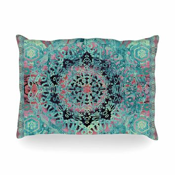 "Nina May ""Maiji Mandala Aqua"" Teal Coral Ethnic Abstract Mixed Media Painting Oblong Pillow"