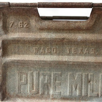 Vintage Pure Milk Metal Crate Industrial Chic Decor