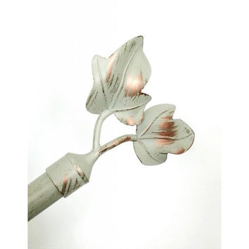 Adjustable Metal Curtain Rods With Dual Leaf Finial- Frida- Cream/ Copper