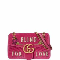 Gucci GG Marmont Medium Embroidered Velvet Blind for Love Shoulder Bag | Neiman Marcus
