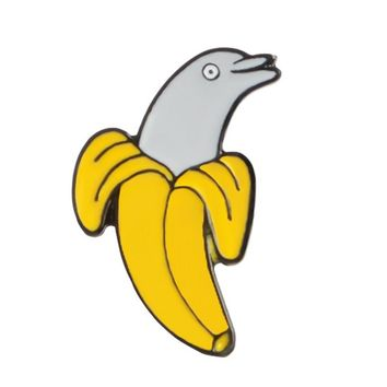 Banana Dolphin Enamel Pin Fruit Animal Brooches Gift For Kids Friends Funny Icon Pin Badge Button Lapel Pin For Clothes Cap Bag