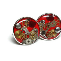 Red Steampunk Cuff Links, Steampunk Cufflinks, Gifts for Him, Father's Day Steam Punk Cuff Links