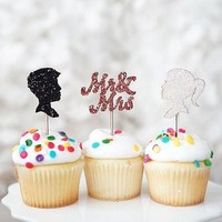 12 Mr and Mrs Black White Glitter Cupcake Wedding Cake Topper Picks Decoration Bachelorette