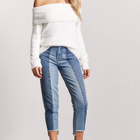 Fuzzy Foldover Off-the-Shoulder Sweater