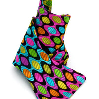 Bow Tie - Mens Geometric Bow Tie - Neon Colorful Pure Silk Mens Bowtie - Bow Ties Mens - Handmade Bowtie Geometric Funky Multicolor - 'Trip'