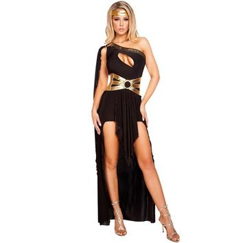 Cool Attack on Titan Disfraces  Black White Sexy Egyptian For Cleopatra Costume Women Halloween Costumes For Adults Long Dress AT_90_11