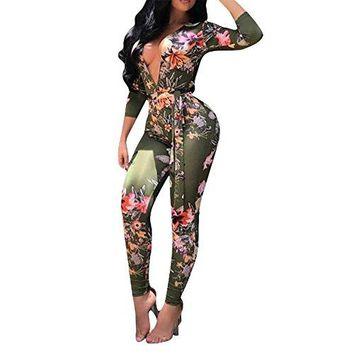 Joseph Costume Women's Sexy Floral Deep V-Neck Long Sleeve Bodycon Long Pants Jumpsuit Rompers