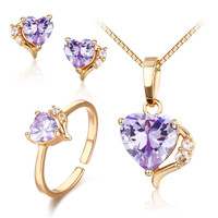 Cute Gold Color Lavendar Purple AAA CZ Heart CZ Ring Pendant Necklace and Earrings Small Jewelry Sets For Children Girls Kids
