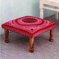 Ruby Mandala Sheesham Wood with Multicolor Embroidery in Shades of Red Pink Square Upholstered Foot Stool Ottoman (India) | Overstock.com Shopping - The Best Deals on Ottomans