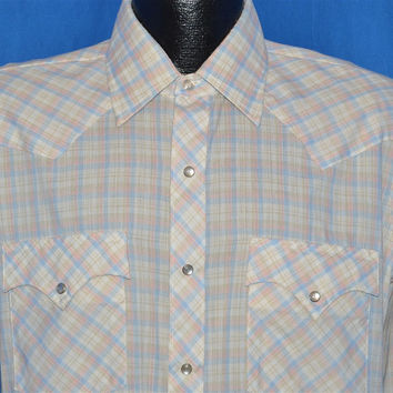 80s Pink Blue Pastel Plaid Pearl Snap Shirt Large