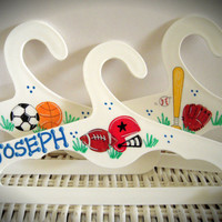 Set of Three Children's Hangers With Sports Theme