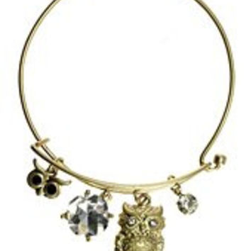 Womens Jewelry, Owl, Gold Tone Metal Hook Bangle w/ Assorted Accents Crystal Accent Faux Pearl Accent Rhinestone Accent Owl Gold Tone Metal Hook Bangle Assorted Accents - Materials: Metal - Length: Diameter: 2.5 Inch