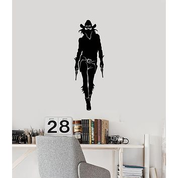 Vinyl Wall Decal Cowgirl with Guns Texas Wild West Woman Rodeo Stickers Mural (ig5950)