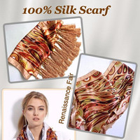 100% Silk Fringe Beaded Scarf, Long, Warm Swirling Colors, Vintage