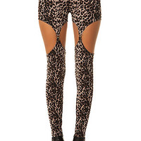 Widow Legging Exclusive Cutout Garter Ponti in Leopard