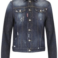 Dsquared² Dark blue distressed denim jacket