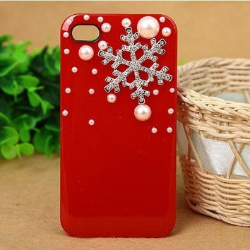 white pearl silver snowflake protective case for iPhone 5 iPhone 4 4s phone case friendship love bridesmaid gifts winter trending