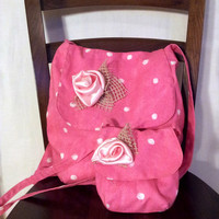 Pink tote bag set made from cotton fabric for summer decorated with satin flower,mother and daughter set,sisters set
