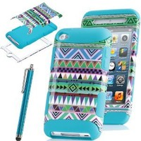 ULAK 3-Piece Blue Hybrid High Impact Case Tribal pattern Blue Silicone For Apple iPod Touch Generation 4 with Free Stylus