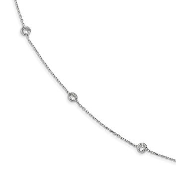 Sterling Silver Rhodium-plated 16-Station CZ Polished Necklace QG4285
