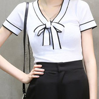 White Bow Tie Front V-neck Short Sleeve T-shirt