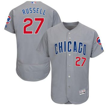 Men's Chicago Cubs Addison Russell Majestic Gray Road Authentic Collection Flex Base Player Jersey