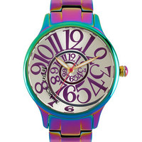 Betsey Johnson Watch, Women's Rainbow Stainless Steel Bracelet 39mm BJ00040-11