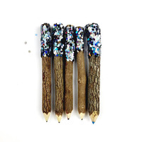 Twig Pencils in Black Glitter Dip (x5) - Stationery, School Supplies, Party Favors, Event Favors, Wedding Favours