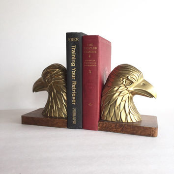 Vintage Brass and Wood Eagle Bookends