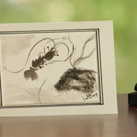 Dancing shrimp and rock sumi e style blank card