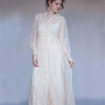 RIBBON FLOWER DRESS - Ivory Lace Victorian Dress