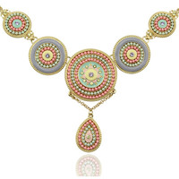 Tribal Gold Round Resin Bohemia Beads Pendant Link Chain Necklace