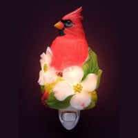 Cardinal on Dogwood Blossom Night Light -( Ibis & Orchid Flowers of Light Collection)