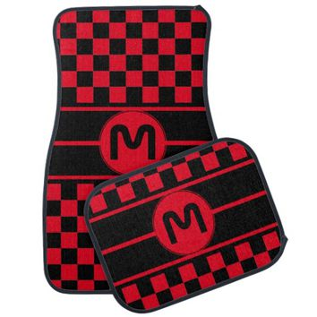 Any Initial Color or Text Checkered Flag Pattern Car Mat