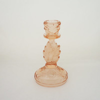 "Vintage Walther ""Waltraut""  Candle Holder, Peach/Pink Glass Candle Stick, Art Deco Candle Holder, 1930s"