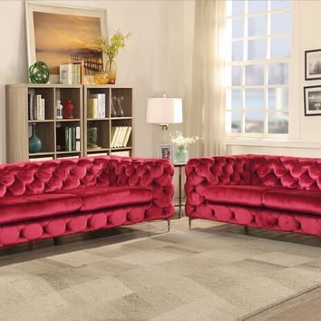 Acme 52795-96 2 pc Adam red velvet fabric with overall tufting sofa and love seat