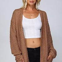 Very Camel Crochet Oversized Open Cardigan