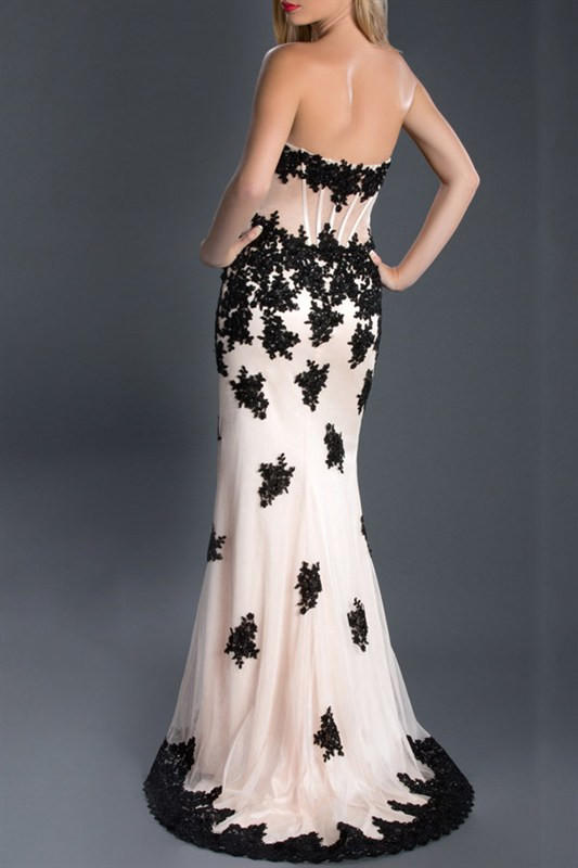 a766197a31a Black Label Couture 49 Lace Corset Sheer Illusion Evening Gown Prom Dress