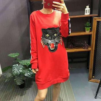 PEAPUF3 GUCCI Fashion Casual Straps Tiger Embroider Hooded Hoodies Sweatshirt Top G-A-GHSY-1