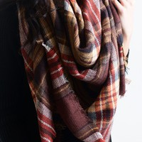 Campfire Plaid Blanket Scarf Coffee