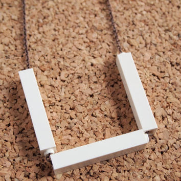 White Lego Necklace - geekery hipster cute unique charm changeable custom jewelry upcycled FREE Shipping to USA