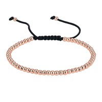 14k Rose Gold Tone Bracelet Fashion Bead Ball Link Design Braided New