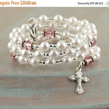 On Sale White Pearl Pink Crystal Wrap Cuff Rosary Bracelet Cross Dove Charm Prayer Beads Fits Girls First Holy Communion Gift Flower Girl Gi