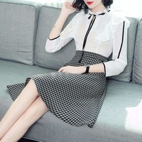 Cotton Plaid Ruffles Slim A-Line Dress Runway Women Dress Office Lady Dress