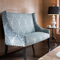 """Cate"" Damask Settee - Horchow"