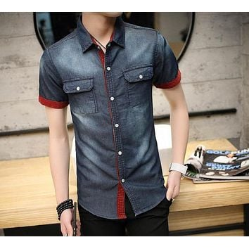 Mens Short Sleeve Button Front Denim Shirt