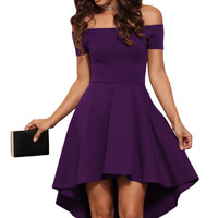 Purple Shoulder Off All The Rage Fit and Flare Skater Dress