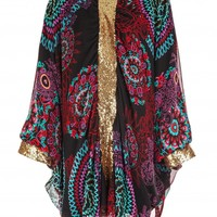 Multicolor Chiffon Gold Sequins Batwing Tunic | Tops | Citra Style | USA