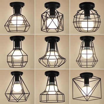 Ceiling Lights Vintage LED Ceiling Lamp Lustre Luminaire Lron Cage Lighting Fixtures Luminaria Abajur Plafonnier For Living Room
